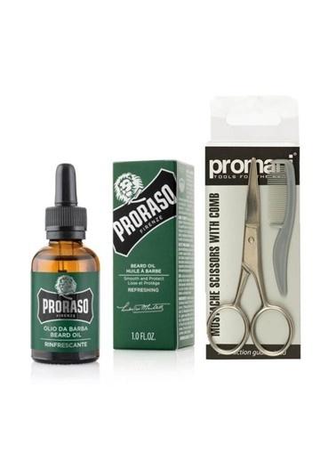 Proraso Proraso Sakal Bakım Yağı - Olikaptus 30 Ml+Sakal Ve Bıyık Makası + Tarak No:Pr-741 Renksiz